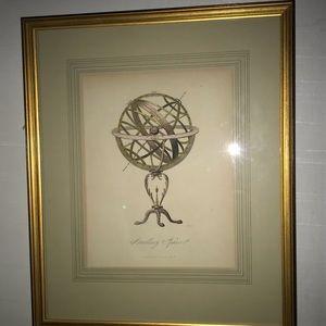 Antique Original Coloring 1835 Armillary Sphere
